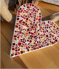 rotes Mosaik Herz Beton Dekoration Geschenk Handmade flach Tiffany Glasmosaik - Handarbeit kaufen
