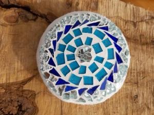 Mosaik Linse türkis blau 10 cm Glas Tiffany Blumenmosaik Glasmosaik schwimmt Teich Dekoration - Handarbeit kaufen