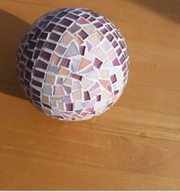 lila rosé Kugel 12cm Mosaik Dekokugel schwimmt Gartenkugel Rund Tiffany Teichdeko