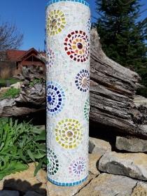 Mosaik Säule 56cm Blumenmuster bunt Tiffany Gartendeko Röhre Deko Blüten - Handarbeit kaufen