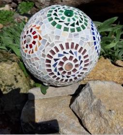 Mosaik Kugel 20cm Blumen Dekokugel Blütenkugel Gartendeko bunt