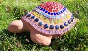 Mosaik Schildkröte upcycling Terracotta bunt 35 cm Tiffany handmade - Handarbeit kaufen