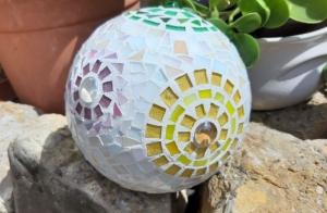 Mosaik Kugel 15cm bunt Blumen Dekokugel Blütenkugel Gartendeko