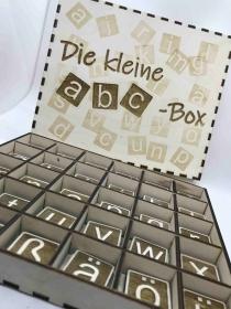 Die kleine abc-Box aus Holz, Alphabet, Lernbuchstaben, Montessori Spielzeug, Kinder Puzzle, pädagogisches Spielzeug, Waldorf, Home schooling