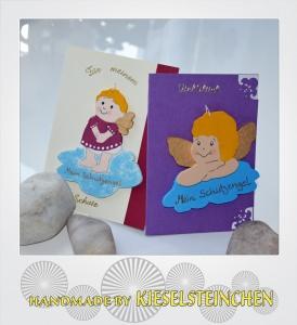 2 Grußkarten mit Engelchen zum Hinhängen