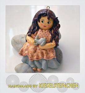 Salzteig Figur Mädchen mit Hase