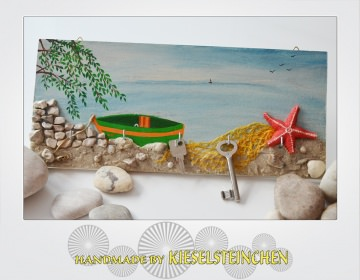 Schlüsselbrett-Schmuckbrett am Meer als Collage