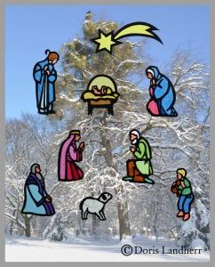 Fensterbild Themenkrippe aus 9 Figuren