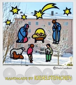 Fensterbild Weihnachten mit 8 Motiven