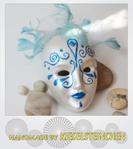 Maske Blau/weiß Perlmut