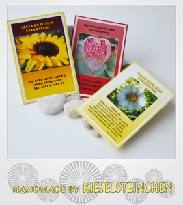 3 Blumenkarten mit Sprüche