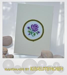 Grußkarte gestickt Rose