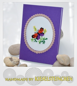 Grußkarte gestickt Schmetterling