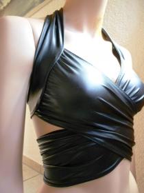 Wickeltop Bandage Top Wickel Bluse Bikini Oberteil Badeanzugstoff Lycra