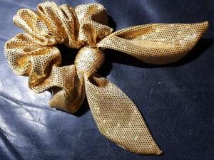 Haargummi Scrunchy gold Hologramm metallic Badestofflycra mit Paillettendruck (Kopie id: 100266248) (Kopie id: 100266249)