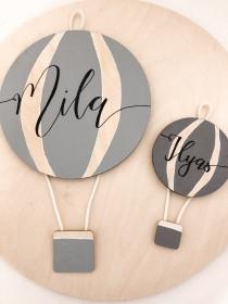 Schild Heißluftballon mit Namen in deiner Wunschfarbe 10x20cm oder 20x40cm (Kinderzimmer, Babyzimmer, Taufe, Babyparty, personalisierbar) - Handarbeit kaufen