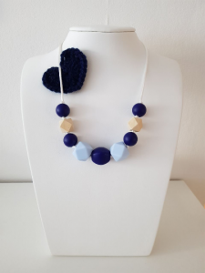 ♥♥♥ Handgeknüpfte Stillkette aus Silikon in Blautönen ♥♥♥