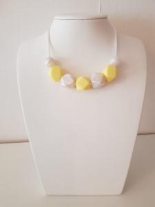 ♥♥♥ Handgeknüpfte Stillkette aus Silikon in Gelb/Weiß ♥♥♥