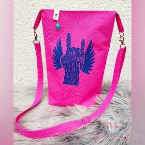 Umhängetasche Pinkuprock mit Plott im Standuppaddel-Design von Stoffanker, aus wasserabweisenden Nylonstoff und Canvas. Größe ca. 26x33cm - Handarbeit kaufen