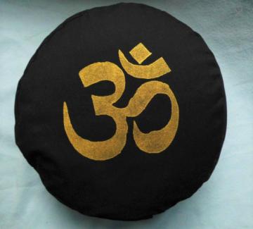 Rundes Yogakissen, Meditationskissen Schwarz Om
