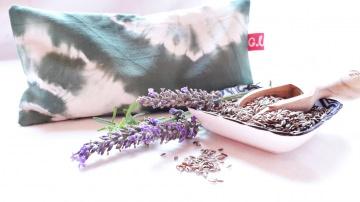 Augenkissen, Entspannungskissen, Yogakissen, Shibori Olivegrün