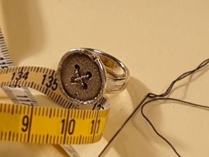 Silberring im Knopf Design - Handarbeit kaufen