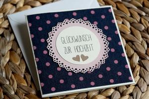 Süße Hochzeitskarte mit Denim