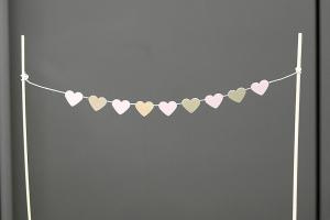 Tortengirlande/Kuchengirlande Herzen rosa/gold