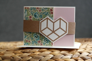 Elegante handgemachte Hochzeitskarte mit Herz