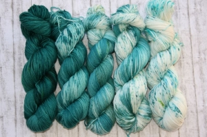 Fade Set #2 : 5 Stränge handgefärbte Weiche Merino Wolle