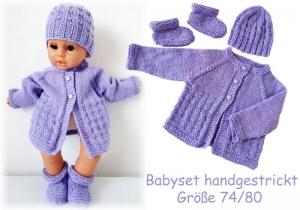 Baby Set - Jäckchen, Mütze, Schuhe handgestrickt flieder Größe 74/80