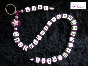ABC-Kette mit Namen, Schulanfang, Einschulung, Geschenk, Schlüsselanhänger , lila