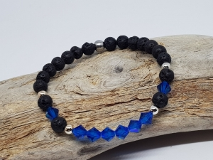 Armband aus Lava und Kristall weckt deine Urlaubserinnerungen, wenn du es kaufst. - Handarbeit kaufen