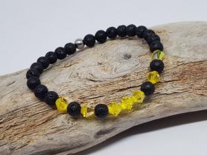 Armband aus Lava und Kristall, steht für Sommer, Sonne, Freude, gleich kaufen. - Handarbeit kaufen