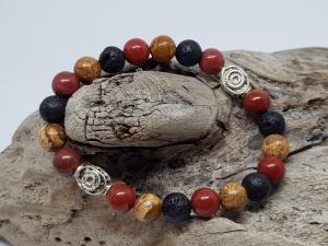 Armband aus Jaspis, Mookait und Lava  gleich kaufen, wenn du dir Power wünschst. - Handarbeit kaufen