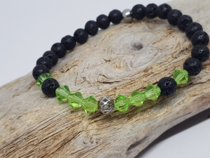 Armband aus Lava und Kristall, dass wie der Frühling funkelt, kaufen. - Handarbeit kaufen
