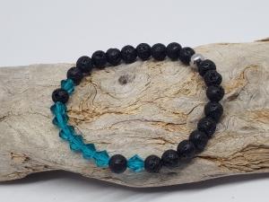 Armband aus Lava und Kristall das dir  Meerfeeling  vermittelt kaufen. - Handarbeit kaufen