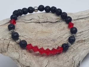 Armband aus Lava und glutroten Kristallen kaufen - Handarbeit kaufen