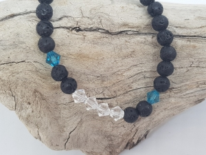 Armband aus Lava und Kristall kaufen,  um es zu einem Stack zu kombinieren - Handarbeit kaufen