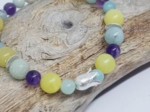 Armband aus Lemon Jade, Amazonit & Amethyst wirkt frisch wie der Frühling. - Handarbeit kaufen