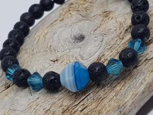 Ein traumschönes Armband aus Lava, Achat & Kristall - Handarbeit kaufen