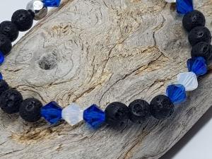 Armband aus Lava und Kristall kaufen, dass sich nach  blauen Meer und weißen Wolken sehnt - Handarbeit kaufen