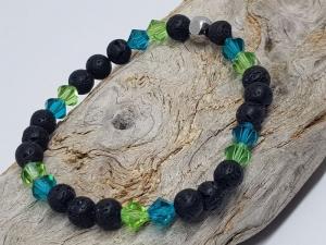 Armband aus Lava und Kristall kaufen, dass  an ruhiges und aufgewühlters Meer erinnert.