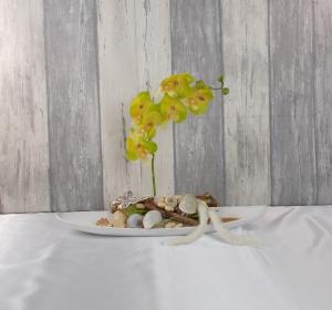 Tischgesteck, Orchidee gelb, Gesteck, Wohndekoration