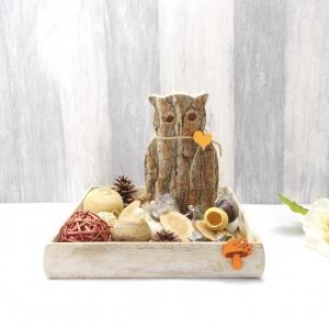 Tischgesteck, rustikal, modern, Holzeule, Tablett, Tischdekoration, Eule, Holz  - Handarbeit kaufen