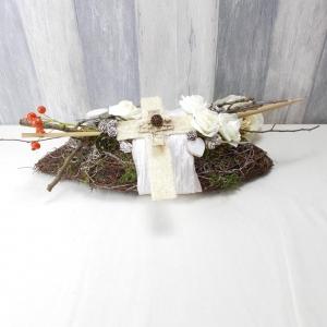 Grabgesteck, Spindelform, mit Kreuz, Grabschmuck, Trauerfloristik, Trauergesteck - Handarbeit kaufen