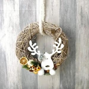 Türkranz Weihnachten, mit Rentierkopf Metall, Türschmuck, Weihnachten, Weihnachtsdeko