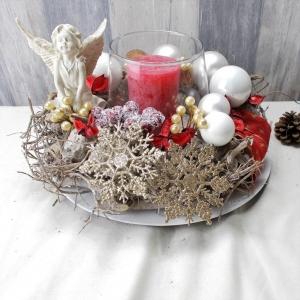 Adventsgesteck, mit Elfe, Weihnachten, Weihnachtsdeko,  - Handarbeit kaufen