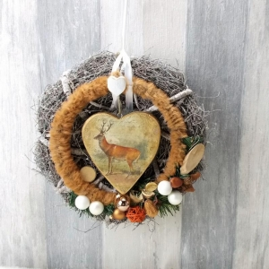 Weihnachtlicher Türkranz, mit braunem Fellring und Holzherz, Türschmuck, Weihnachten, Weihnachtsdeko  - Handarbeit kaufen