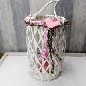 Windlicht, Tischgesteck, rosa, weiß, Frühlingsgesteck, Tischdekoration - Handarbeit kaufen